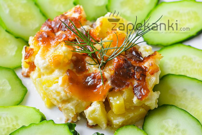 быстрая запеканка с курицей, грибами и картофелем