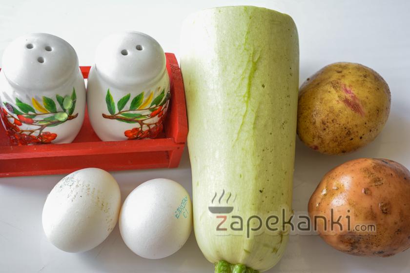 ингредиенты для картофельно-кабачковой запеканки.