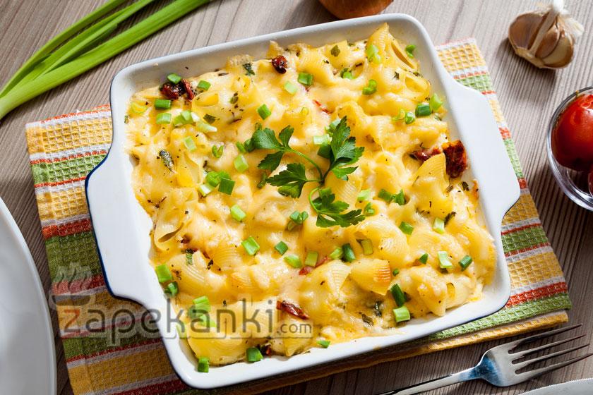 Самая вкусная запеканка из макарон с сыром и вялеными томатами