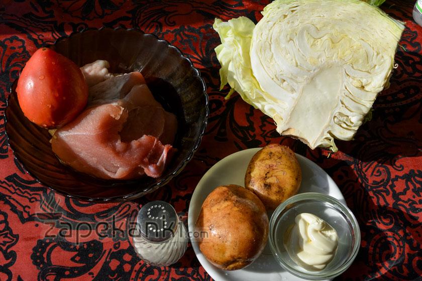 ингредиенты для овощной запеканки с мясом