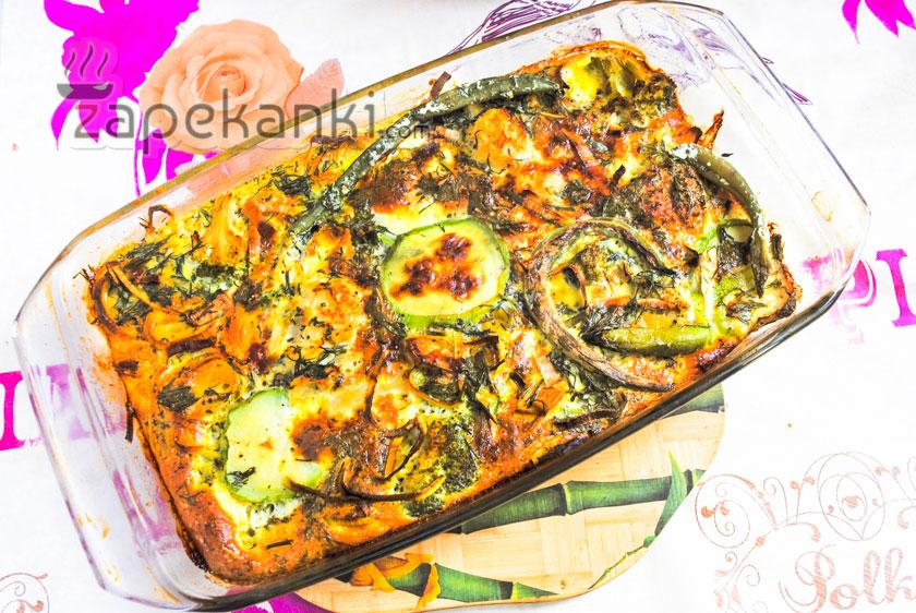 готовая запеканка с брокколи и цветной капустой