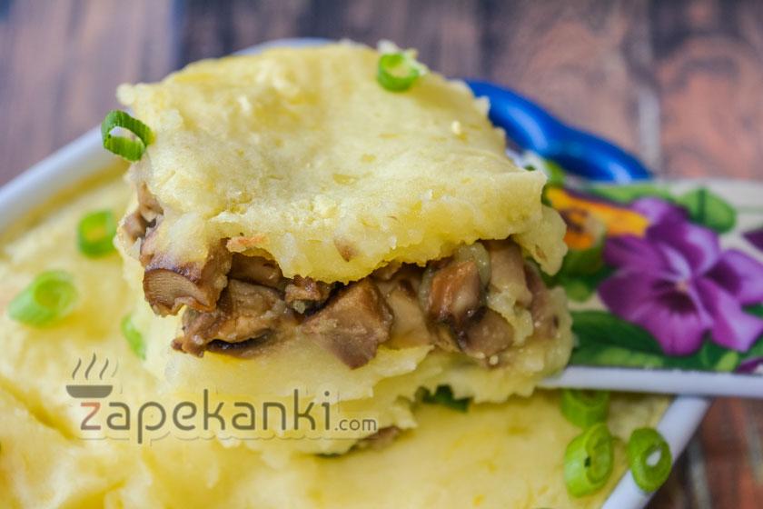 Постная запеканка с картофелем и грибами в духовке