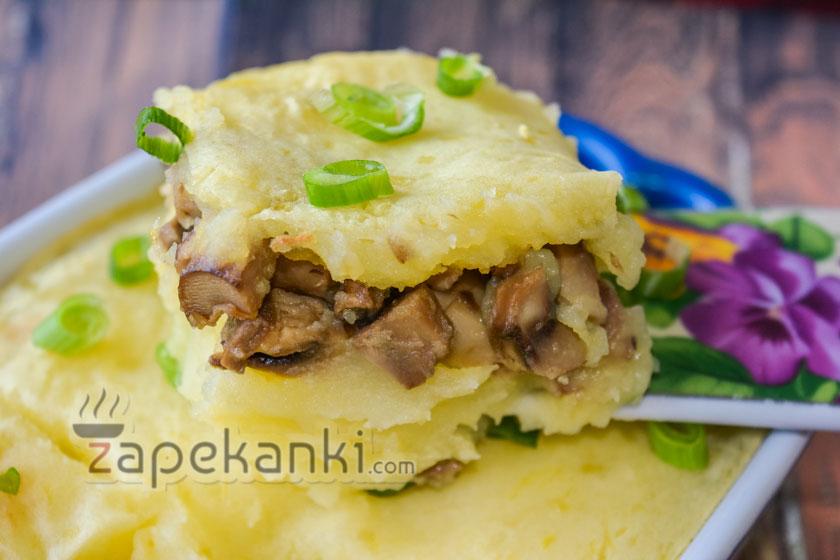 постная картофельная запеканка с грибами пошагово с фото