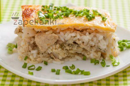 Вкусная запеканка из риса и курицы рецепт с фото