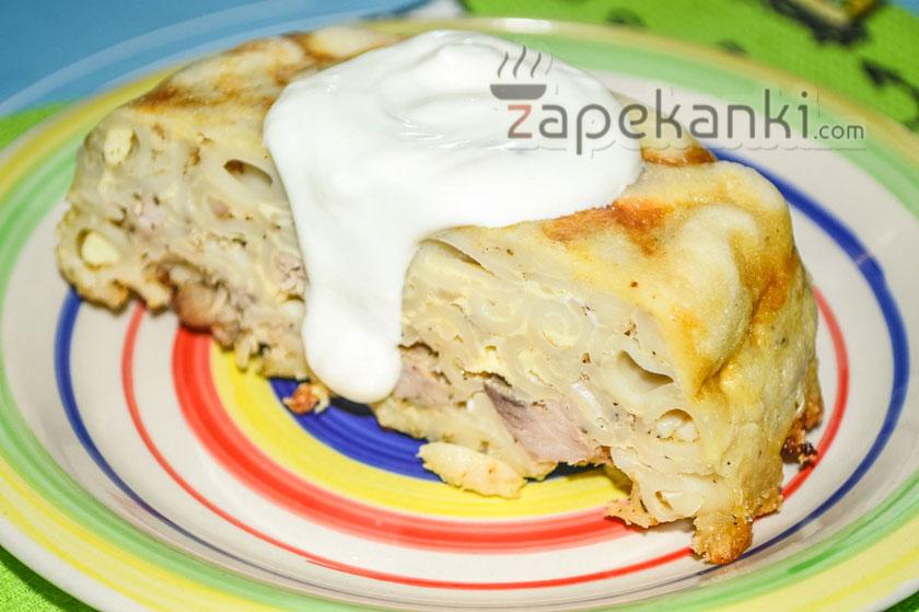 Запеканка из макарон с куриным филе