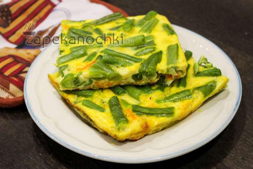 запеканка из зеленой фасоли с яйцом